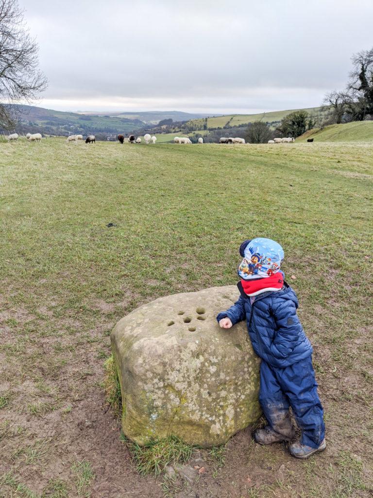 the boundary stone between Stoney Middleton and Eyam used during the bubonic plague