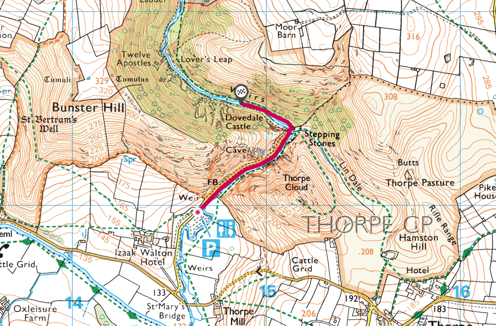 Dovedale walk OS Map