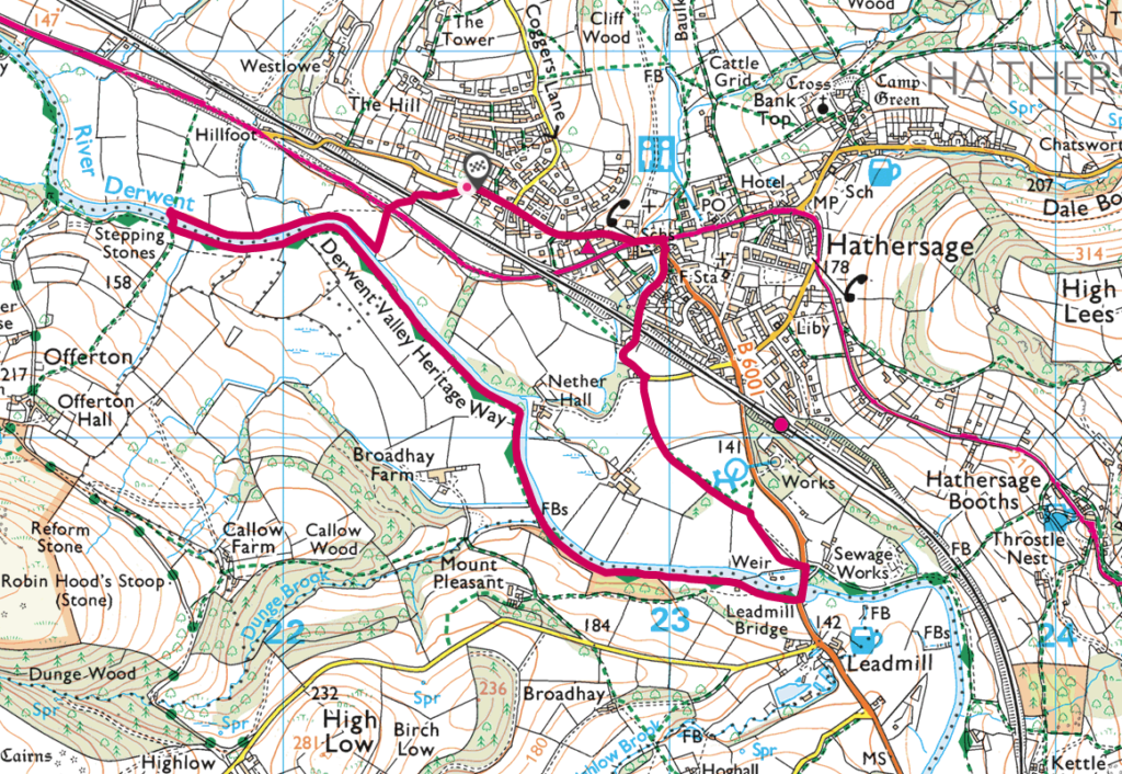 Hathersage stepping stones walk OS Map