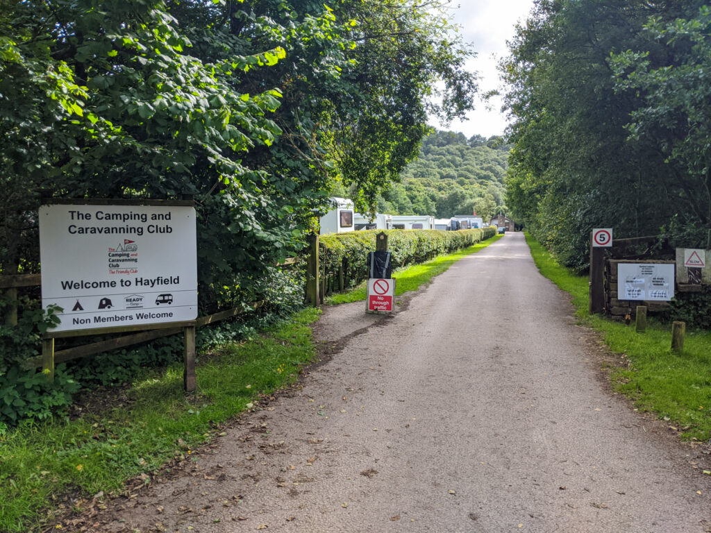 Entrance to Hayfield Campsite (Camping and Caravanning Club)