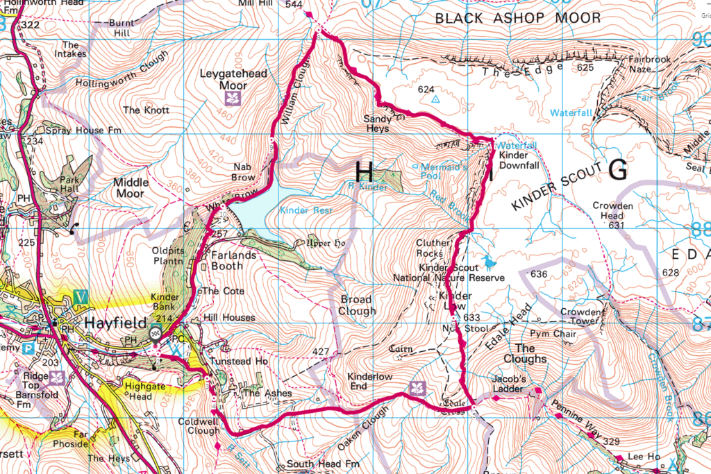Kinder Scout from Hayfield OS Map