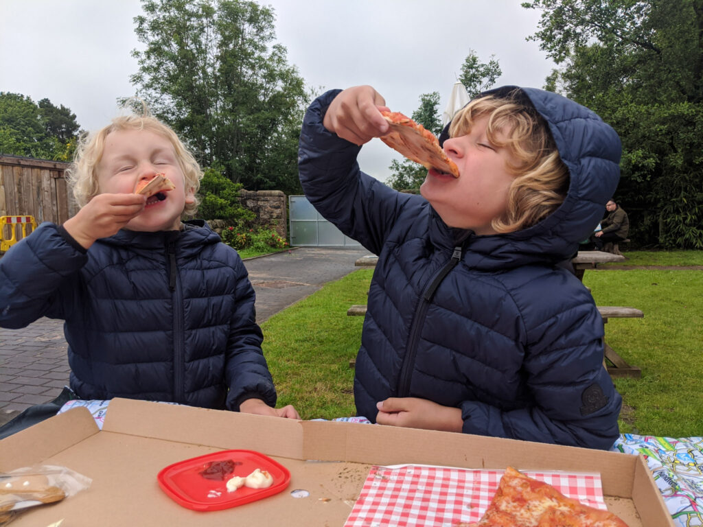 eating pizza at Peak Wildlife Park