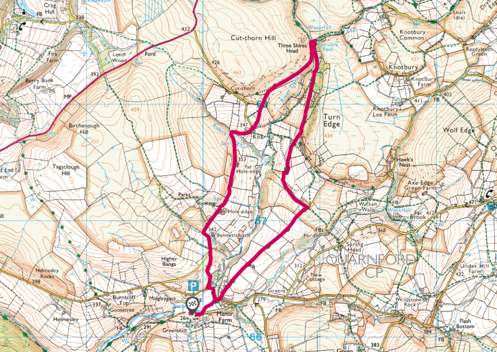 Three Shires Head OS Map