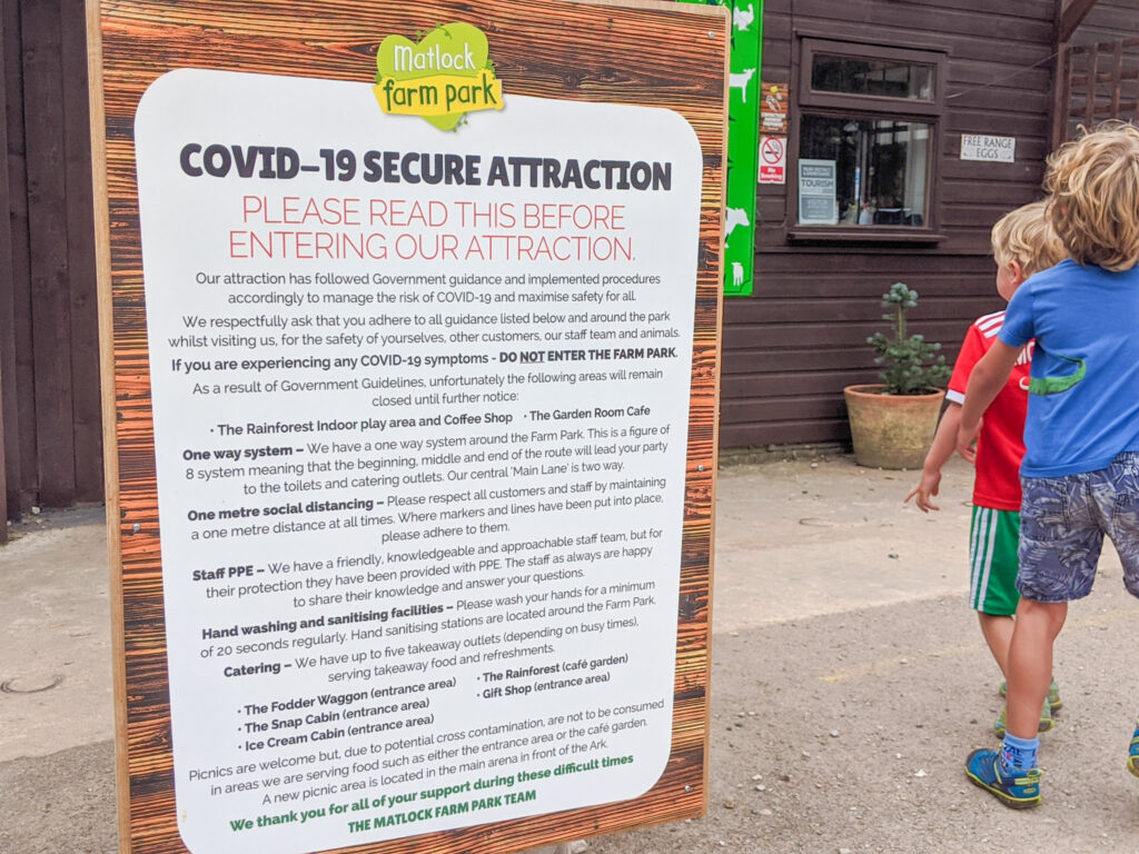 COVID safety measures at Matlock Farm Park