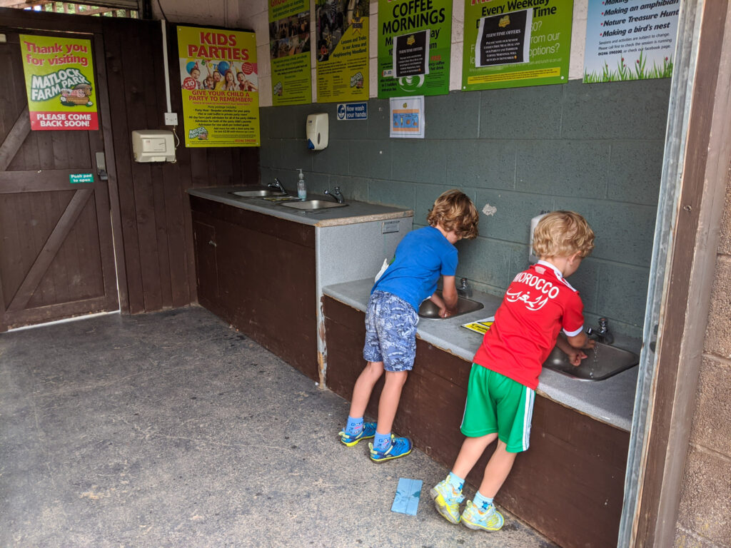 washing hands on exit to Matlock Farm Park