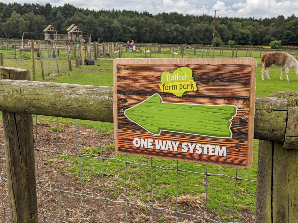 one way system at Matlock Farm Park