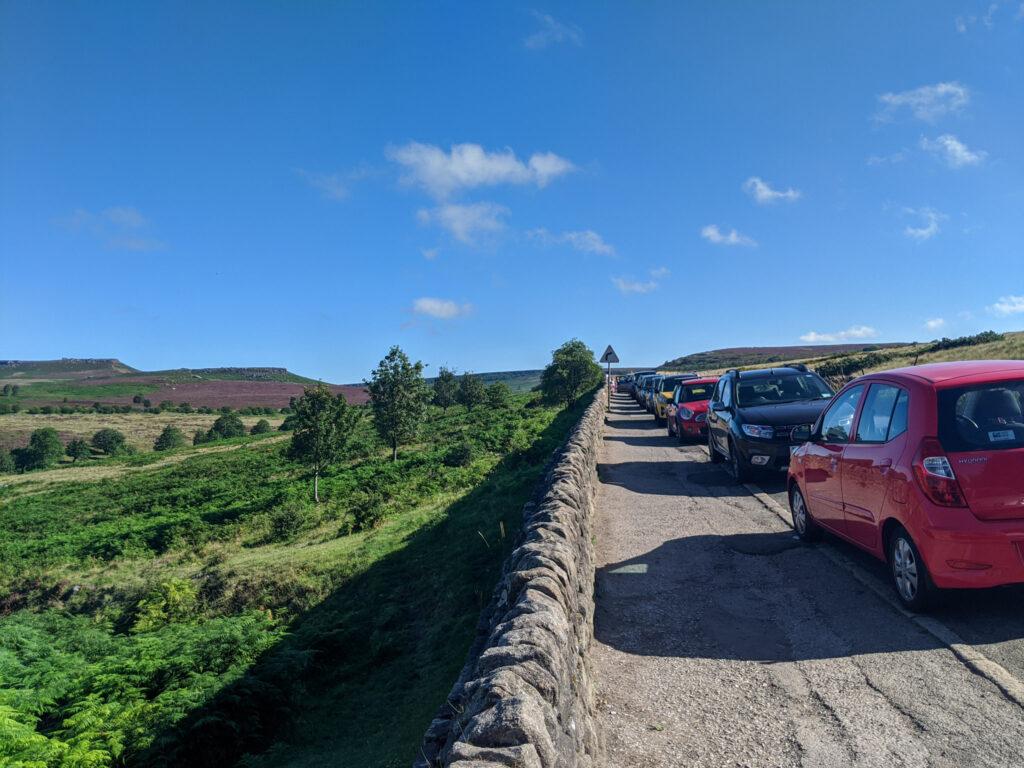 road side parking for Padley Gorge walk