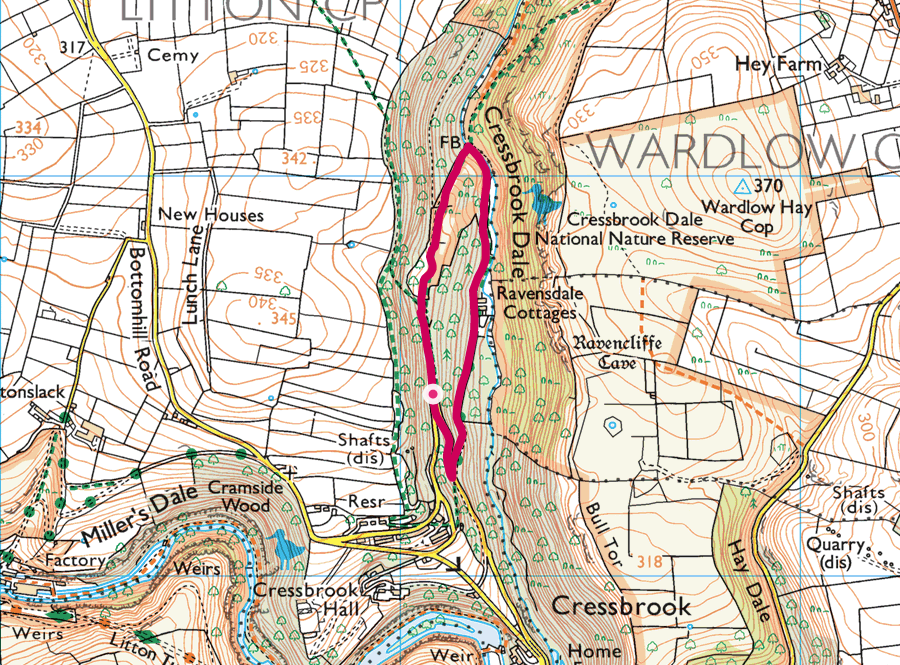 Cressbrook Dale walk OS map