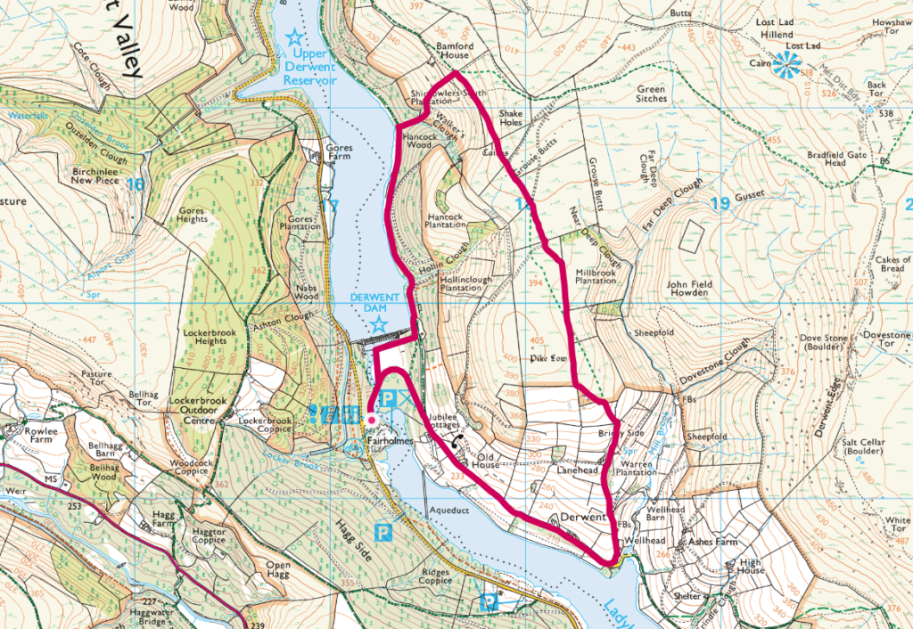 Derwent Dam walk OS Map
