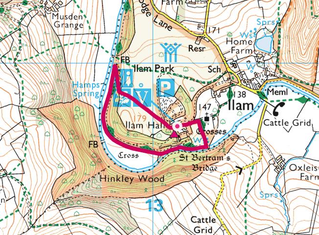Ilam Park walk OS Map
