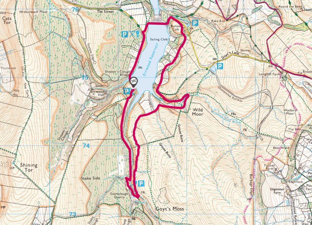 Errwood Reservoir walk OS Map