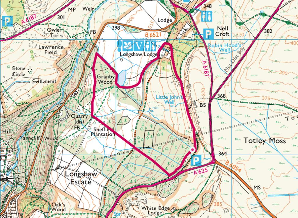 Longshaw Estate walk map