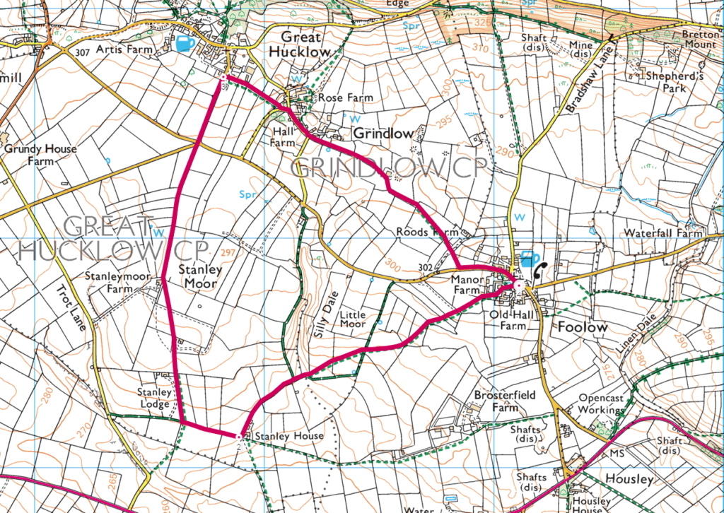 Foolow walk to Great Hucklow OS Map