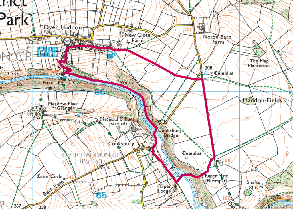 Over Haddon walk OS Map
