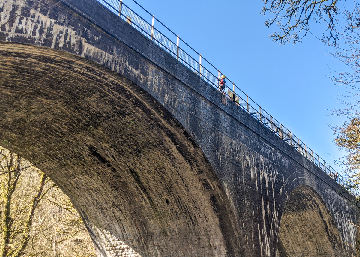 Abseiling Millers Dale Viaduct with kids
