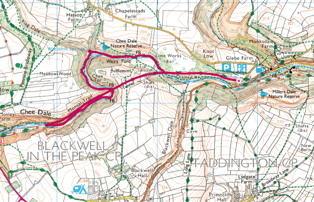Chee Dale walk OS Map