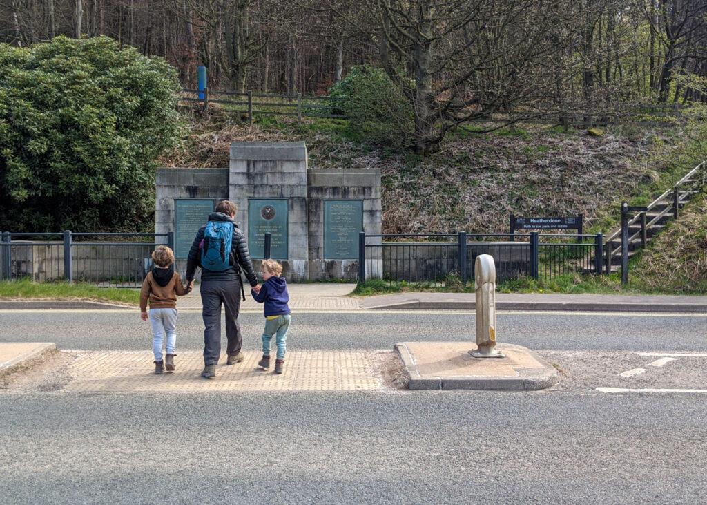 Crossing road at Ladybower Dam