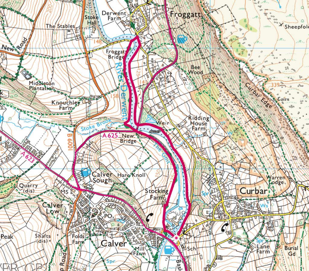 River Derwent walk from Curbar to Frogatt map