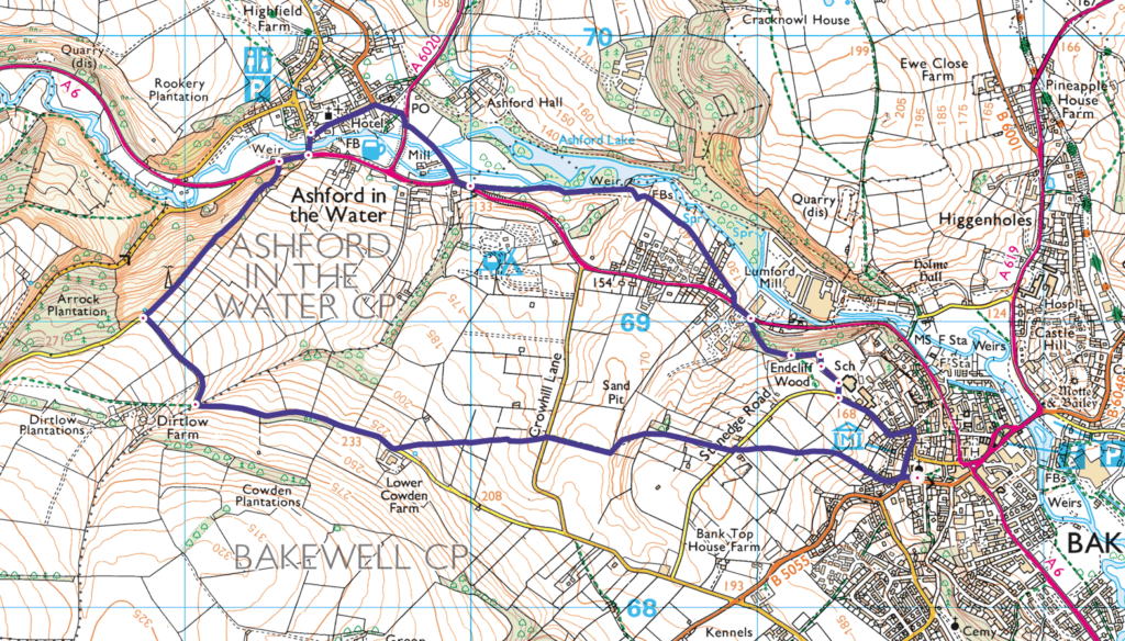 Bakewell to Ashford in the Water walk OS Map