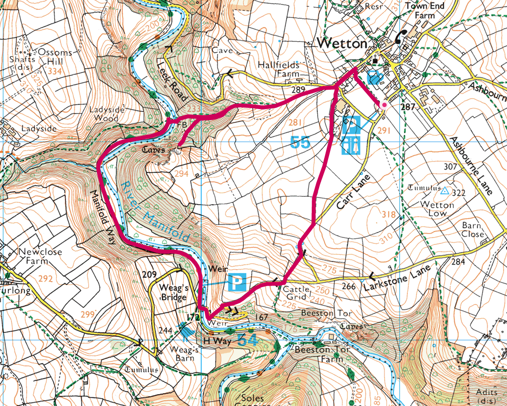 Thor's Cave walk OS Map